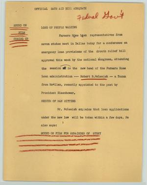 Primary view of object titled '[News Script: Official says aid bill adequate]'.