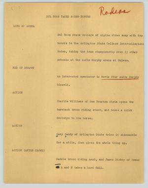 Primary view of object titled '[News Script: Sul Ross takes rodeo honors]'.