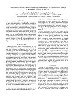 Primary view of object titled 'Simultaneous ballistic deficit immunity and resilience to parallel noise sources: A new pulse shaping technique'.