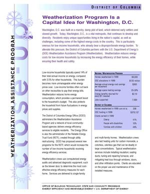 Primary view of object titled 'Weatherization Program is a Capital Idea for Washington, D.C.: Weatherization Assistance Close-Up Fact Sheet'.