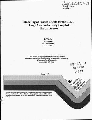 Primary view of object titled 'Modeling of profile effects for the LLNL Large Area Inductively Coupled Plasma Source'.