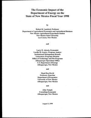 Primary view of object titled 'The economic impact of the Department of Energy on the State of New Mexico Fiscal Year 1998'.