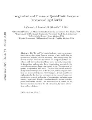 Primary view of object titled 'Longitudinal and Transverse Quasi-Elastic Response Functions of Light Nuclei'.