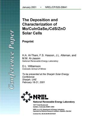 Primary view of object titled 'The Deposition and Characterization of Mo/CuInGaSe2/CdS/ZnO Solar Cells'.