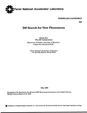 Primary view of object titled 'D0 search for new phenomena'.
