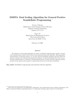 Primary view of object titled 'DSDP3: dual scaling algorithm for general positive semidefinite programming.'.