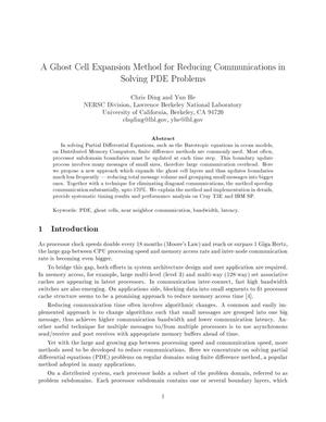 Primary view of object titled 'A ghost cell expansion method for reducing communications in solving PDE problems'.