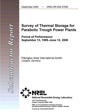 Primary view of object titled 'Survey of Thermal Storage for Parabolic Trough Power Plants; Period of Performance: September 13, 1999 - June 12, 2000'.