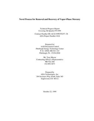 Primary view of object titled 'NOVEL PROCESS FOR REMOVAL AND RECOVERY OF VAPOR-PHASE MERCURY'.
