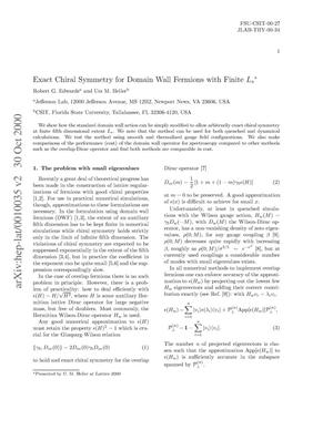 Primary view of object titled 'Exact Chiral Symmetry for Domain Wall Fermions with Finite L{sub s}*'.
