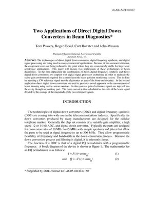 Primary view of object titled 'Two Applications of Direct Digital Down Converters in Beam Diagnostics'.