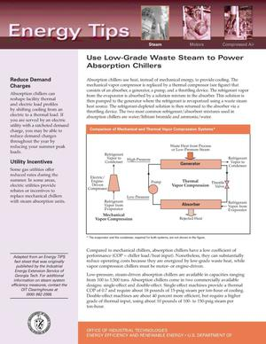 Primary view of object titled 'Use Low-Grade Waste Steam to Power Absorption Chillers: Office of Industrial Technologies (OIT) Steam Energy Tips Fact Sheet'.