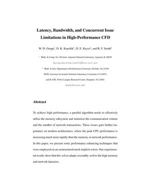 Primary view of object titled 'Latency, bandwidth, and concurrent issue limitations in high-performance CFD.'.