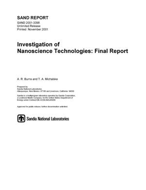 Primary view of object titled 'Investigation of Nanoscience Technologies: Final Report'.