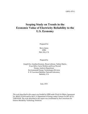 Primary view of object titled 'Scoping study on trends in the economic value of electricity reliability to the U.S. economy'.