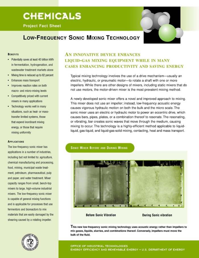 Low-Frequency Sonic Mixing Technology: Inventions and