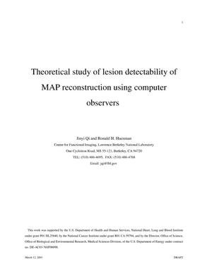 Primary view of object titled 'Theoretical study of lesion detectability of MAP reconstruction using computer observers'.