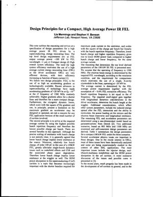 Primary view of object titled 'Design Principles for a Compact High Average Power IR FEL'.