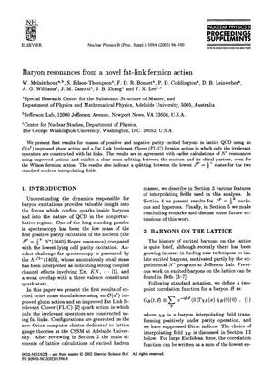 Primary view of object titled 'Baryon Resonances from a Novel Fat-Link Fermion Action'.