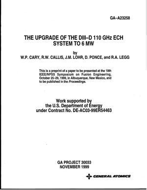 Primary view of object titled 'The Upgrade of the DIII-D GHz ECH System to 6 MW'.