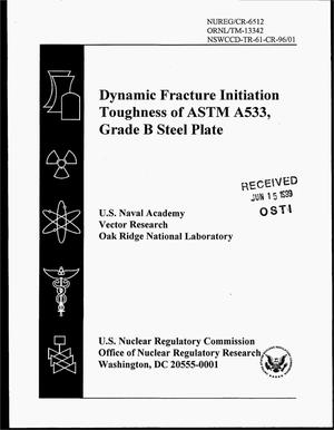 Primary view of object titled 'Dynamic Fracture Initiation Toughness of ASTM A533, Grade B Steel Plate'.