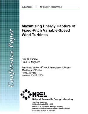 Primary view of object titled 'Maximizing Energy Capture of Fixed-Pitch Variable-Speed Wind Turbines'.