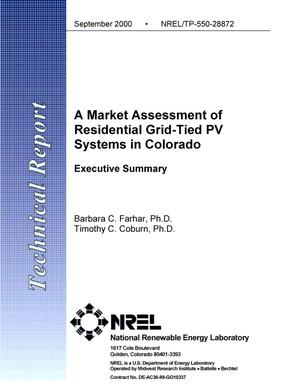 Primary view of object titled 'A Market Assessment of Residential Grid-Tied PV Systems in Colorado: Executive Summary'.