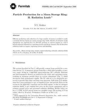 Primary view of object titled 'Particle production for a muon storage ring: II. Radiation loads'.