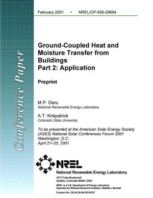 Primary view of object titled 'Ground-Coupled Heat and Moisture Transfer from Buildings; Part 2: Application (Preprint)'.