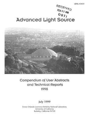 Primary view of object titled 'Advanced Light Source Compendium of User Abstracts and Technical Reports 1998'.