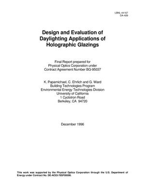 Primary view of object titled 'Design and evaluation of daylighting applications of holographic glazings'.