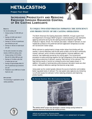 Primary view of object titled 'Increasing Productivity and Reducing Emissions through Enhanced Control of Die Casting Lubricants: NICE3 Metalcasting Fact Sheet'.