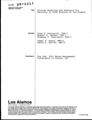 Primary view of object titled 'PROCESS MODELING AND ANALYSIS FOR RECOVERY OF PUBE SOURCES AT LOS ALAMOS'.
