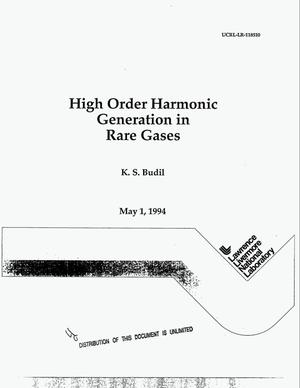 Primary view of object titled 'High order harmonic generation in rare gases'.