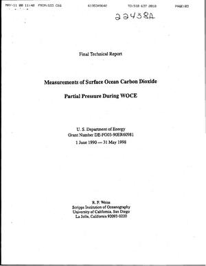 Primary view of object titled 'Final Report: Measurements of Surface Ocean Carbon Dioxide Partial Pressure During WOCE, June 1, 1990 - May 31, 1998'.