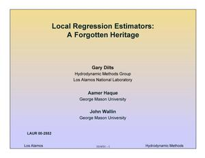 Primary view of object titled 'LOCAL REGRESSION ESTIMATORS: A FORGOTTEN HERITAGE'.