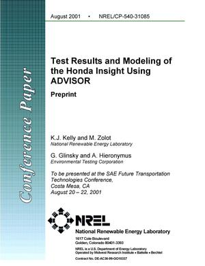 Primary view of object titled 'Test Results and Modeling of the Honda Insight Using ADVISOR: Preprint'.