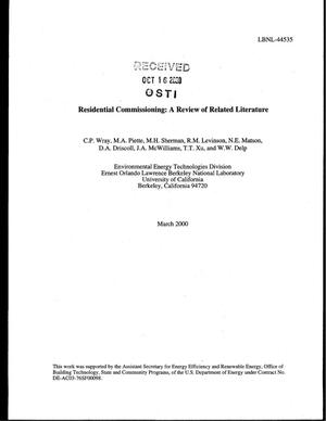 Primary view of object titled 'Residential commissioning: a review of related literature'.