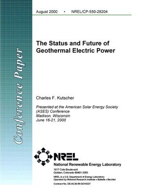 Primary view of object titled 'The Status and Future of Geothermal Electric Power'.