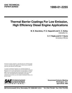 Primary view of object titled 'Thermal Barrier Coatings for Low Emission, High Efficiency Diesel Engine Applications'.