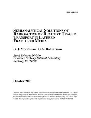 Primary view of object titled 'Semianalytical solutions of radioactive or reactive tracer transport in layered fractured media'.
