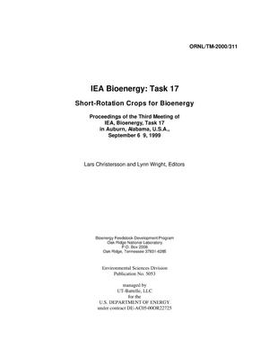 Primary view of object titled 'Short-Rotation Crops for Bioenergy: Proceedings of IEA, Bioenergy, Task 17 Meeting in Auburn, Alabama, USA, September 6-9, 1999'.
