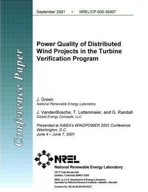 Primary view of object titled 'Power Quality of Distributed Wind Projects in the Turbine Verification Program'.