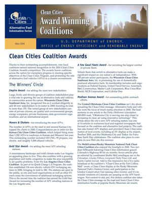Primary view of object titled 'Clean Cities Coalition Awards: Clean Cities Alternative Fuel Information Series Fact Sheet'.