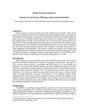 Primary view of object titled 'Steam systems in industry: Energy use and energy efficiency improvement potentials'.