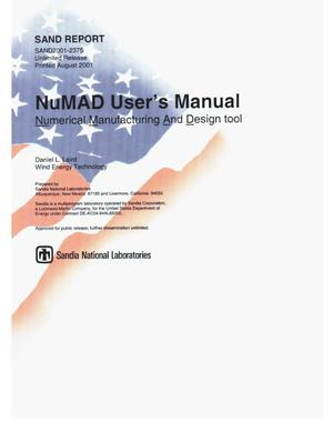Primary view of object titled 'NuMAD User's Manual'.