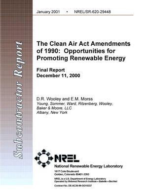 Primary view of object titled 'The Clean Air Act Amendments of 1990: Opportunities for Promoting Renewable Energy; Final Report: December 11, 2000'.