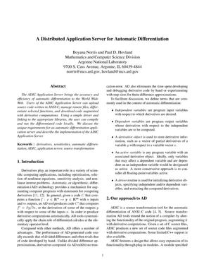 Primary view of object titled 'A distributed application server for automatic differentiation.'.
