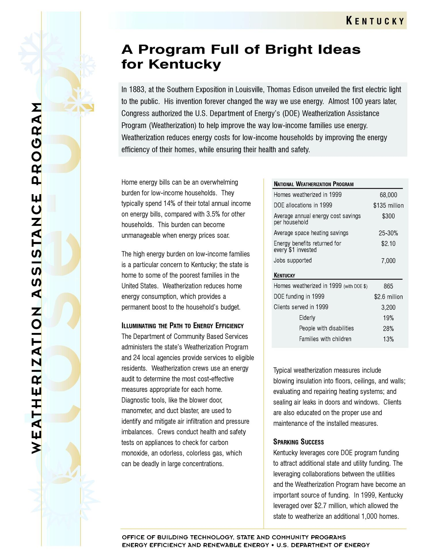 A Program Full of Bright Ideas for Kentucky: Weatherization Assistance Close-Up Fact Sheet                                                                                                      [Sequence #]: 1 of 2