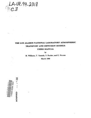 Primary view of object titled 'THE LOS ALAMOS NATIONAL LABORATORY ATMOSPHERIC TRANSPORT AND DIFFUSION MODELS'.
